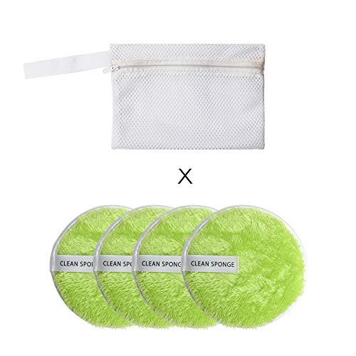 Pluche bladerdeeg, 4 Stks Vrouwen Dubbele laag Katoen Schoonheid Essentials Zachte Make-up Remover Puff Gezichtsreiniging Microvezel Doek Pads Groen