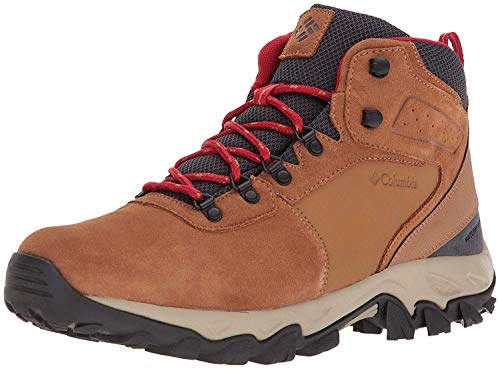 Columbia Men's Newton Ridge Plus II Suede Waterproof Hiking Boot, elk/Mountain red, 9