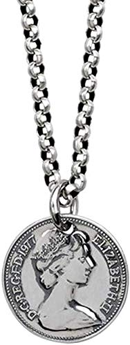 Yiffshunl Necklace S925 Queen Silver Coin Pendant Necklace Temperament Fashion Round Card Pendant Boys and Girls Clavicle Fashion Ornament Creative-Onlypendant Sweater Necklace Gift