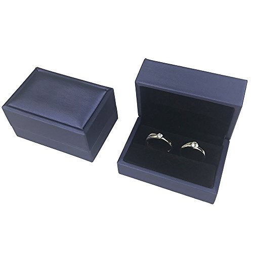 DesignSter Blue Bearer Ring Box – Premium PU Leather Double Ring Box for Wedding Engagement Ceremony Gift Box