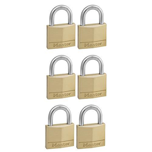 Master Lock 140EURSIX 6-er Pack Schlüssel Vorhängeschlösser aus Massivmessing, Gold, 6 x 4 x 1,3 cm