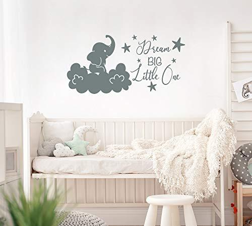 Dream Big Little One Wall Decal kinderkamer, olifant muur Decal Kids Room, Vinyl Quote Kids slaapkamer boven wieg, boven bed muur Decor LT97 gemakkelijk aan te brengen en verwijderd