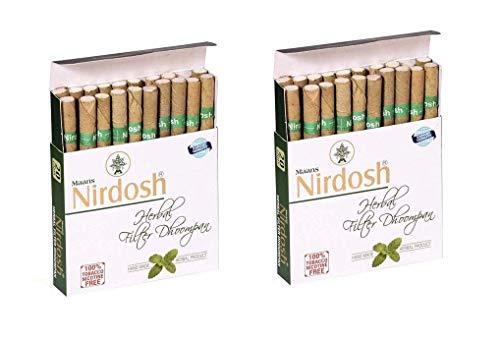 Nirdosh Nicotine & Tobacco Free Herbal Cigarettes- Export Quality - 40 Cigarettes (2 Packs)