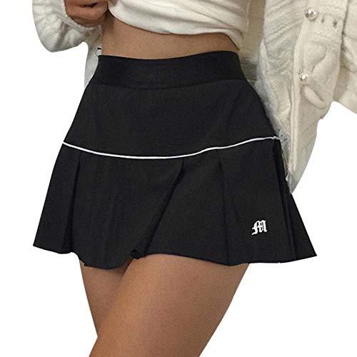 wenyujh Laufrock Sportrock Damen Tennisrock Hosenrock Golfrock Minirock Active Athletic Skort für Golf Laufen Sport für Frauen Mädchen(schwarz,M)
