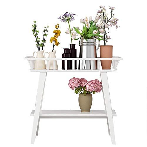 Pflanze Blumenständer, Garden Groove Typ Trapezfuß Säule 2-lagig Starke Tragfähigkeit Metall Durable Indoor 2 Farben (Farbe: Weiß Größe: 60x25x75cm)