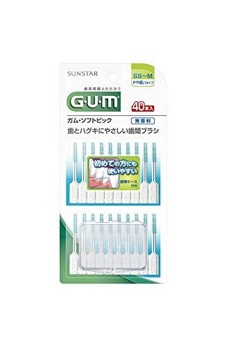 サンスター ガム GUM ソフトピック 40本入 無香料 SS‐M 1個