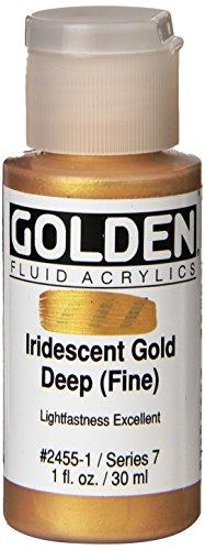 Golden Fluid Acrylic Paint 1 Ounce-Iridescent Gold Deep