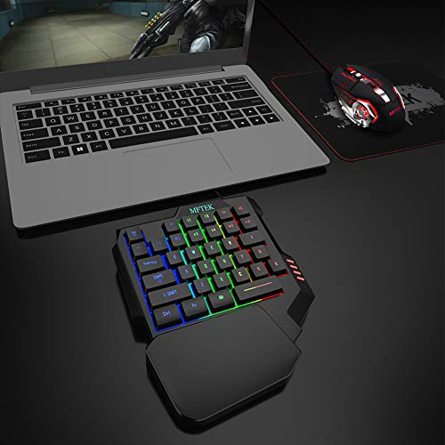 MFTEK One Hand Gaming Keyboard and Mouse Combo, RGB Rainbow Backlit One-Handed Mechanical Feeling Gaming Keyboard with Wrist Rest Support, USB Wired Keyboard Mouse and Mouse Pad Set for PC PS4 Gamer