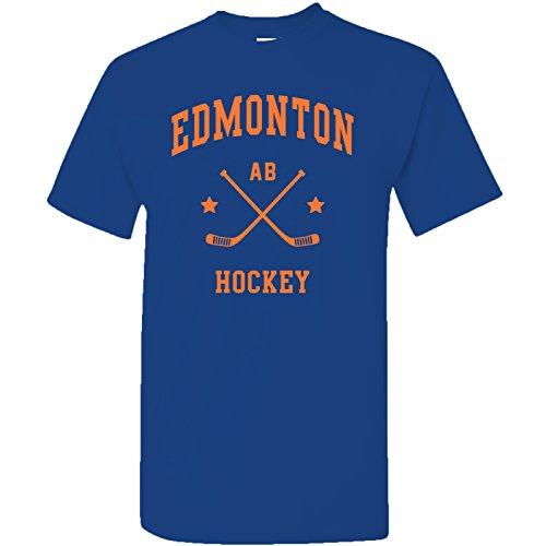 Edmonton Classic Hockey Arch Basic Cotton T-Shirt - X-Large - Cobalt