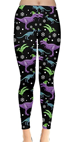 CowCow Womens Dinosaur Christmas Leggings, Dinosaur - 2XL