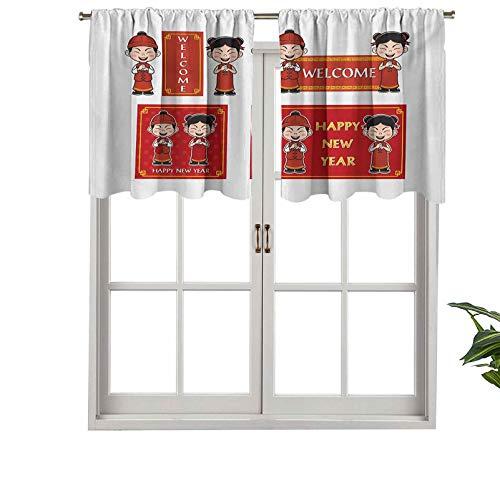 """Hiiiman Cenefas de cortina opacas con bolsillo para barra cortas, paneles de cortina con mensaje en inglés """"Happy Wishs"""", juego de 2, 42 x 24 pulgadas para cocina y baño"""