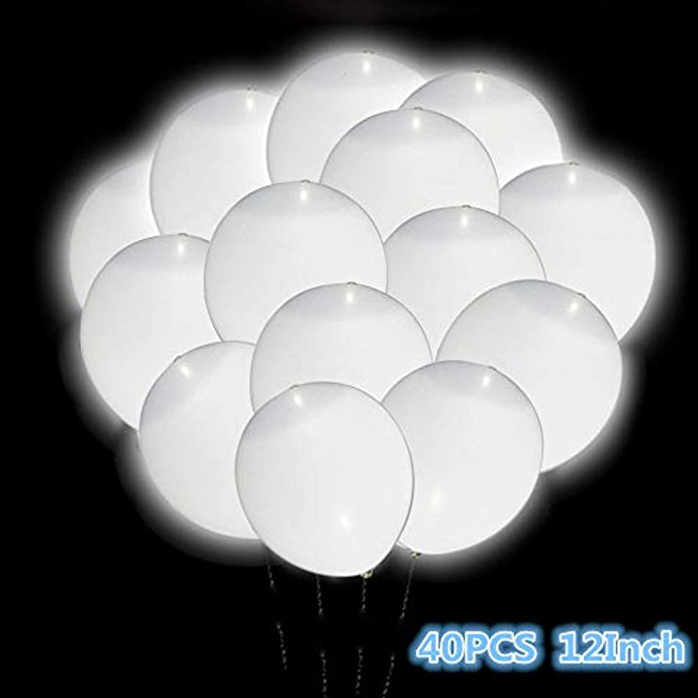 LED Light Up White Balloons, Premium 12 Inch White Latex Balloons with Light,40 PCS Light Up Balloons Long Standby Time Great Decorations for Dark Wedding, Birthday Party, Dancing Party