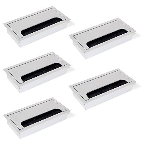 Emuca 5070462 Pasacables rectangulares para encastrar en escritorio/mesa en aluminio anodizado mate (160 x 80 mm), Matt Anodized, 160x80 mm