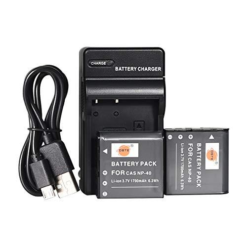 DSTE NP-40 Li-Ionen Batterie (2-Pack) und Micro USB Ladegerät Anzug Kompatibel für Casio Exilim EX-FC100 EX-FC100WE EX-FC150 EX-FC150BK EX-FC150RD EX-FC160S EX-Z400