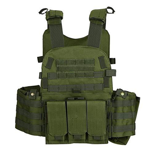 YUANYUAN520 Gilet Tactique Militaire Chasse Gilet en Plein Air Hommes Modulaire Veste Molle Combat Assaut Plaque Transporteur avec Poche D'hydratation extérieure (Color : Army Green, Size : One Size)