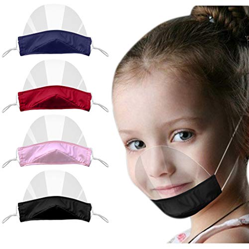 THARK 4 Pcs Washable Reusable Breathable Plastic Transparent Open Visor Safety Anti-Fog Clear Film Protective Mouth Shield for Kids Boy Girl Cooking Beauty Salon Food Service