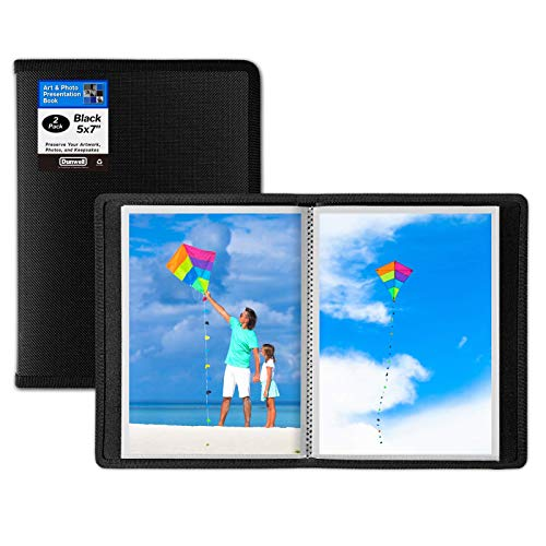 Dunwell 5x7 Small Photo Album (Black, 2 Pack), 24 Pockets Display 48 Photos, 5x7 Photo Album, Portfolio Folder for Artwork, 5x7 Great for Picture Storage, Art Storage, Sketches, Drawings