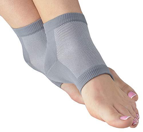 NatraCure atmungsaktive & feuchtigkeitsspendende Gel Fersensocken – Größe: groß – Anti Hornhaut & Fersensporn Socken, Hacken & Fersenschutz gegen Fersenschmerzen für Damen & Herren