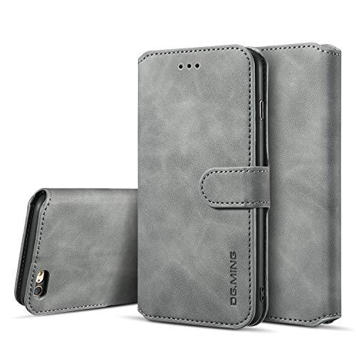 UEEBAI Handyhülle für iPhone 6 Plus 6S Plus, Hülle Retro Premium PU Leder Weich TPU Klapphülle [Magnetverschluss] Kartenfach Standfunktion Anti Kratzern Flip Wallet Trageband Schutzhülle - Grau