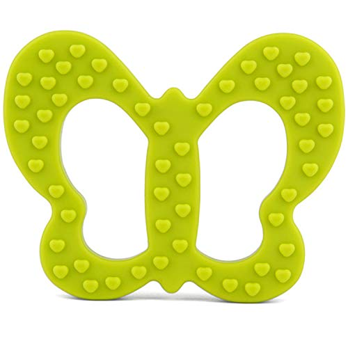 PREMYO Schmetterling Beißring für Babys Kühlend - Zahnungshilfe aus Silikon BPA Frei Weich - Lindert Schmerzen beim Zahnen - Grün