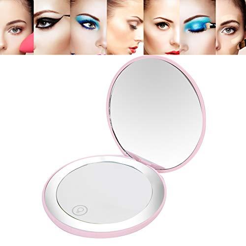 Espejo de maquillaje portátil, espejo de maquillaje, recargable para mujer niña