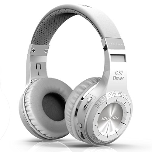 Bluedio Wireless Bluetooth V5.0 Stereo Headphones with Mic (HT Turbine White )