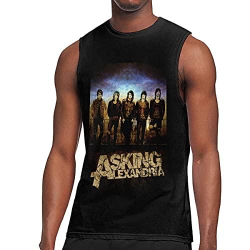 Lsjuee Preguntando Alexandria Men 's Algodón Moda Deportes Casual Cuello Redondo Camiseta sin Mangas Chaleco Camiseta sin Mangas