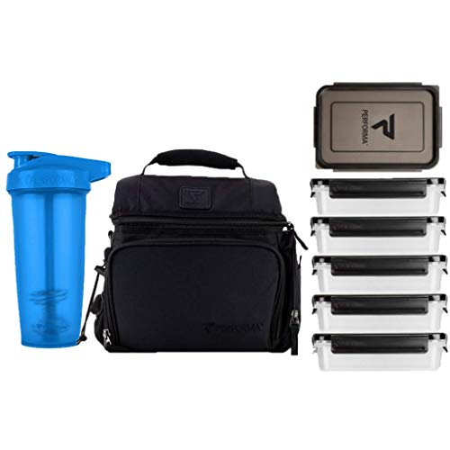 PERFORMA Meal Prep Bag/Shaker Bundle (Black/Blue) - Easy to Use 6 Meal Prep Kit, Spacious, Organized Matrix, and Durable To Accommodate Your Daily Meal & 28oz ACTIV Shaker Bottle