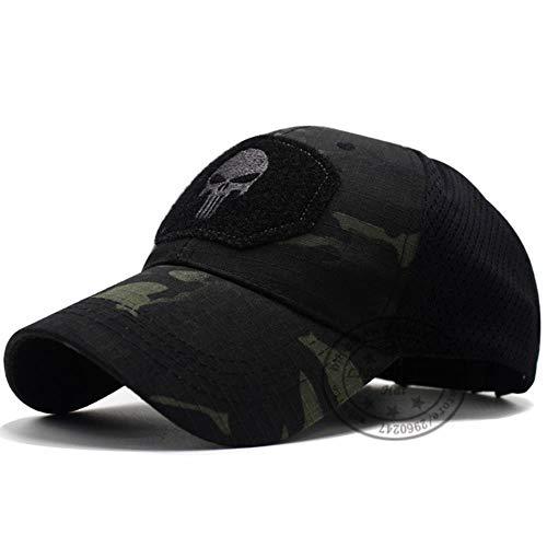 WULIAN Punisher Skull Multicam Bedienerkappe Herren Mesh Summer Fitted Tactical Cap Spezialeinheit Sniper Swat Hat Place Patch Od, Skull Camo Black