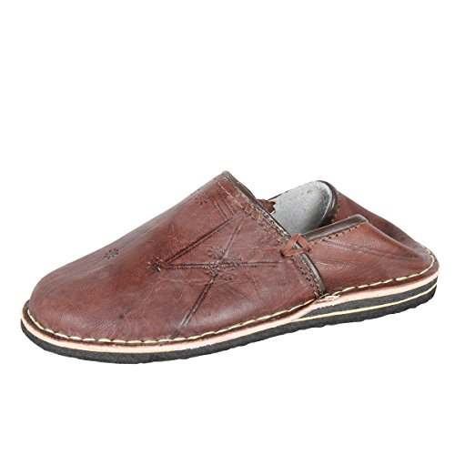albena Marokko Galerie Unisex marokkanische Schuhe Leder Pantoffel (42, Mocca)