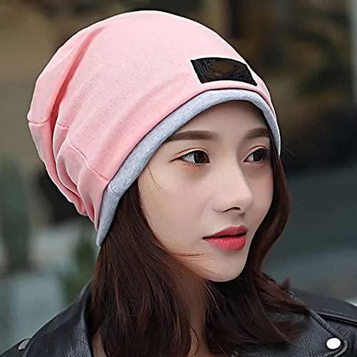 Gorras de bufanda de las mujeres para la pérdida del cabello del sombrero de la beanie, la tapa del chal de la tapa del sueño suave del algodón Baotou establece la cabeza (2 piezas),Rosado,One Size