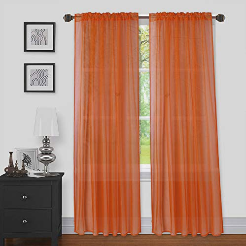 """LinenTopia 2pc Sheer Voile Curtain Panels Set of 2, Home Window Decoration Treatment for Living Room, Solid Color, Decorative Sheer Panels (Sheer, 84"""", Orange)"""