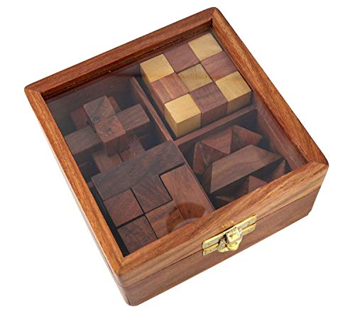WOOD ART STORE 4-in-One Wooden Puzzle Games Set 3D Puzzles for Teens and Adults