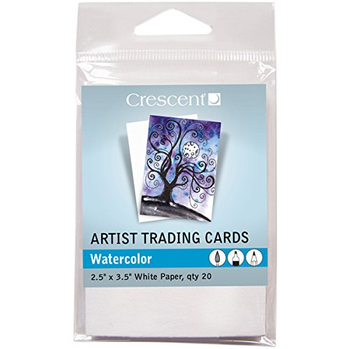 Crescent Cardboard Artist Watercolor Trading Cards (20 Pack), 2.5' by 3.5'