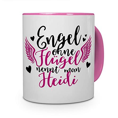 printplanet Tasse mit Namen Heidi - Motiv Engel - Namenstasse, Kaffeebecher, Mug, Becher, Kaffeetasse - Farbe Rosa