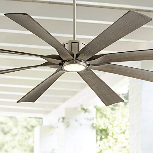 """70"""" The Defender Modern Indoor Outdoor Ceiling Fan with Light LED Dimmable Remote Control Brushed Nickel Light Wood Blades Damp Rated for Patio Porch - Possini Euro Design"""