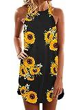 Asvivid Floral Print Beach Dresses for Women Summer Casual Halter Short Sundresses Sleeveless Party Mini Dress Yellow Small