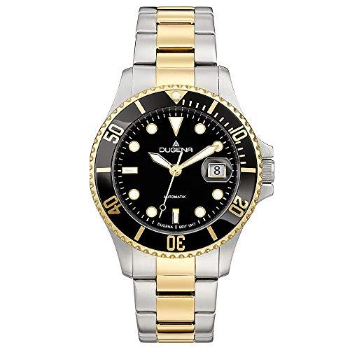 Dugena Herren Automatik-Armbanduhr, Schraubkrone, Gehärtetes Mineralglas, Diver, Silber/Gold/Schwarz, 4460776