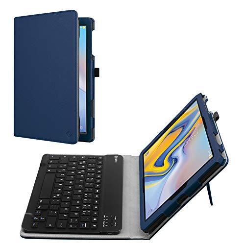 Fintie Tastatur Hülle für Samsung Galaxy Tab A 10.5 SM-T590/T595 Tablet-PC - Slim Fit Kunstleder Stand Schutzhülle mit Magnetisch Abnehmbar Drahtloser Bluetooth Tastatur, Marineblau