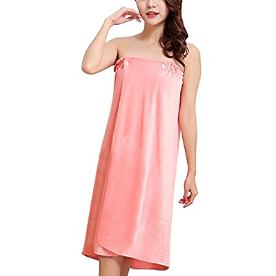Fakeface Women's Towel Wrap, Soft Velour Wearable Spa Shower Bath Wrap Strapless Cover Up Bathing Towel Tube Dress Bathrobe with Elasticated Back and Snap Closure