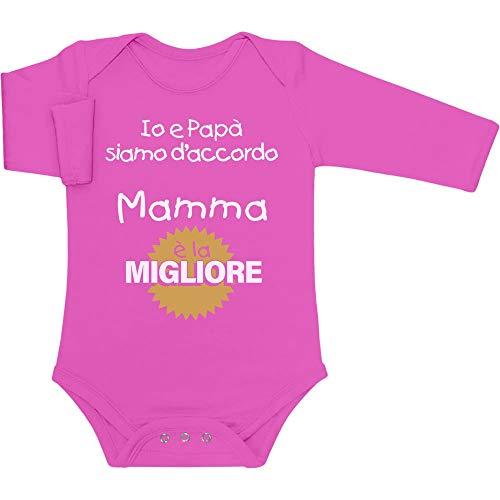 Shirtgeil Mamma è la Migliore - Idea Regalo per Neo Madre Body Neonato Manica Lunga 3-6 Mesi Rosa Wow