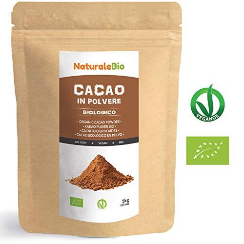 Cacao Biologico in Polvere 1 Kg. 100% Bio, Naturale e Puro da Fave Crude. Prodotto in Perù dalla Pianta Theobroma Cacao. Lavorato a basse temperature.