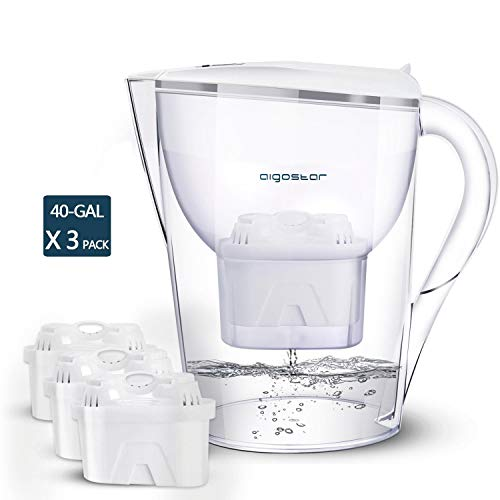 Aigostar Pure Water Pitcher with Filter 10 Cups – Incl. 3 x 60-Day Water Filter Cartridges (up to 3 X 40 gallon filter capacity)