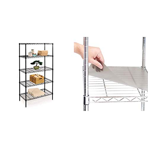 """Seville Classics 5-Tier Black Epoxy Steel Wire Shelving, 30"""" W x 14"""" D x 60"""" H & 2 Individual Smoke Gray Shelf Liners, Designed to Fit 30"""" x 14"""" Wire Shelves, Grey"""
