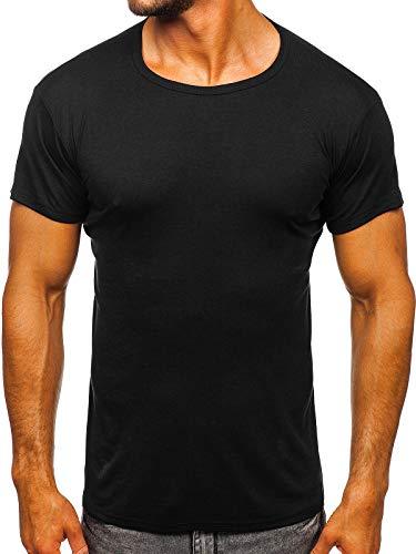 BOLF Hombre Camiseta de Manga Corta Escote Redondo con Impresión Camiseta de Algodón Estilo Diario J.Style NB003 Negro L [3C3]