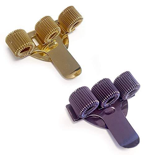 Portapenne a 3 scomparti con fermaglio da tasca, ideale per medici, infermieri e piloti, confezione da 2, colori: oro e viola