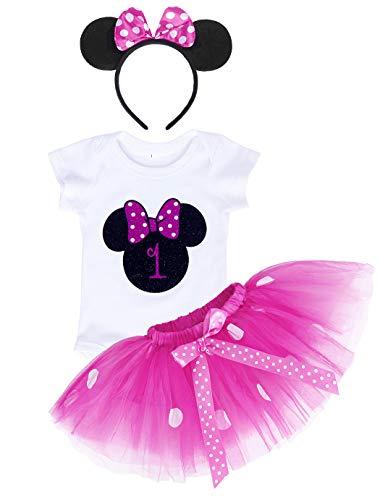 Jurebecia Bebé Niñas Es mi Primer cumpleaños Trajes Conjuntos Princesa Vestido Tutu 3 Piezas Mameluco + Falda + Mouse Ear Diadema