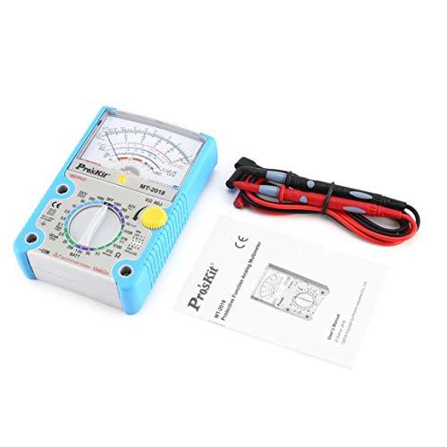 Pros\'Kit MT-2018 Multímetro analógico Estándar de seguridad Medidor de prueba profesional de ohmios Voltaje de CA CA Multímetro de resistencia de corriente (Color: azul)