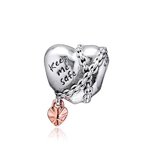 Joyería De Plata De Ley 925 para Mujer Cuentas Encadenadas con Forma De Corazón Se Ajustan A Pulseras Pandora Europeas Collares Fabricación De Joyas DIY