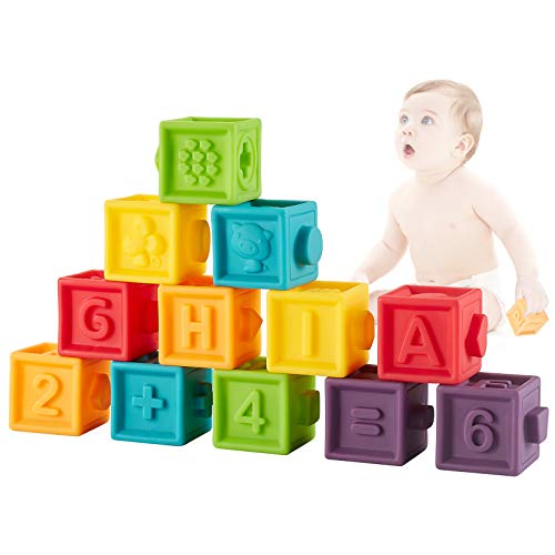 Bubuildup Squeeze Baby Blocks Soft Building Blocks for Toddlers Bath Toys Teething Chewing Toys Educational Baby Toys with Animals Shapes Textures Numbers 12 PCS for Baby 6 Month amp Up